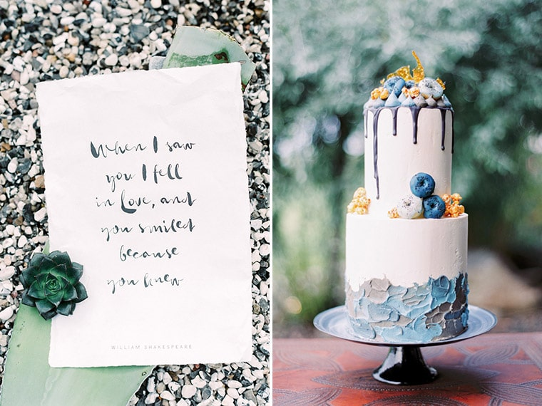 Amazing wedding cake in blue and grey